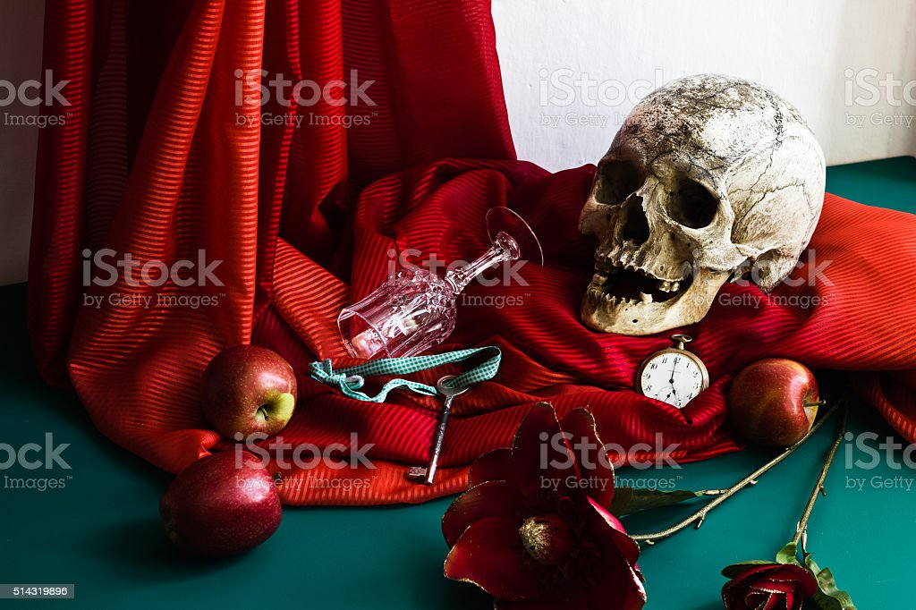 Still Life with Skull in the style of vanitas stock photo