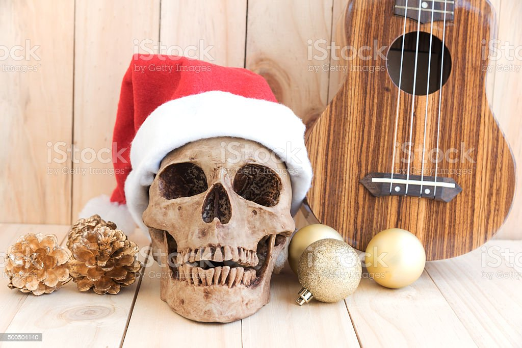 Still life with skull, ornament and ukulele stock photo