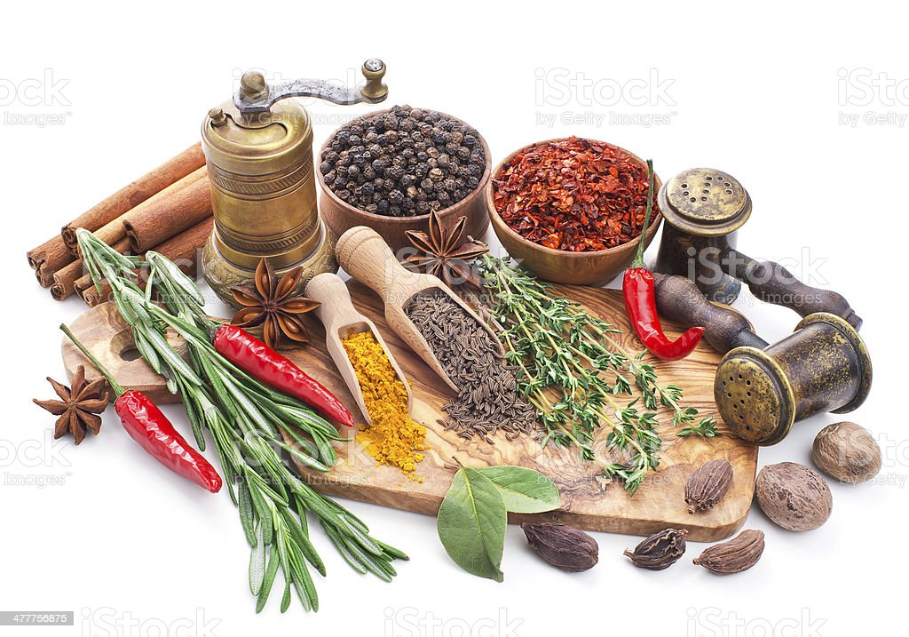 still life with spices and herbs isolated on white stock photo