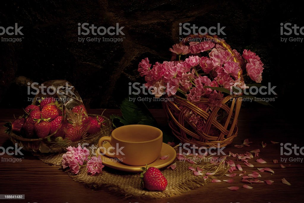 Still life with strawberries stock photo