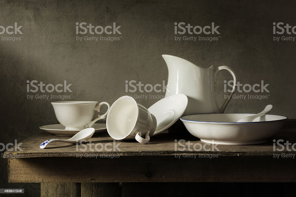 Still life with tableware stock photo