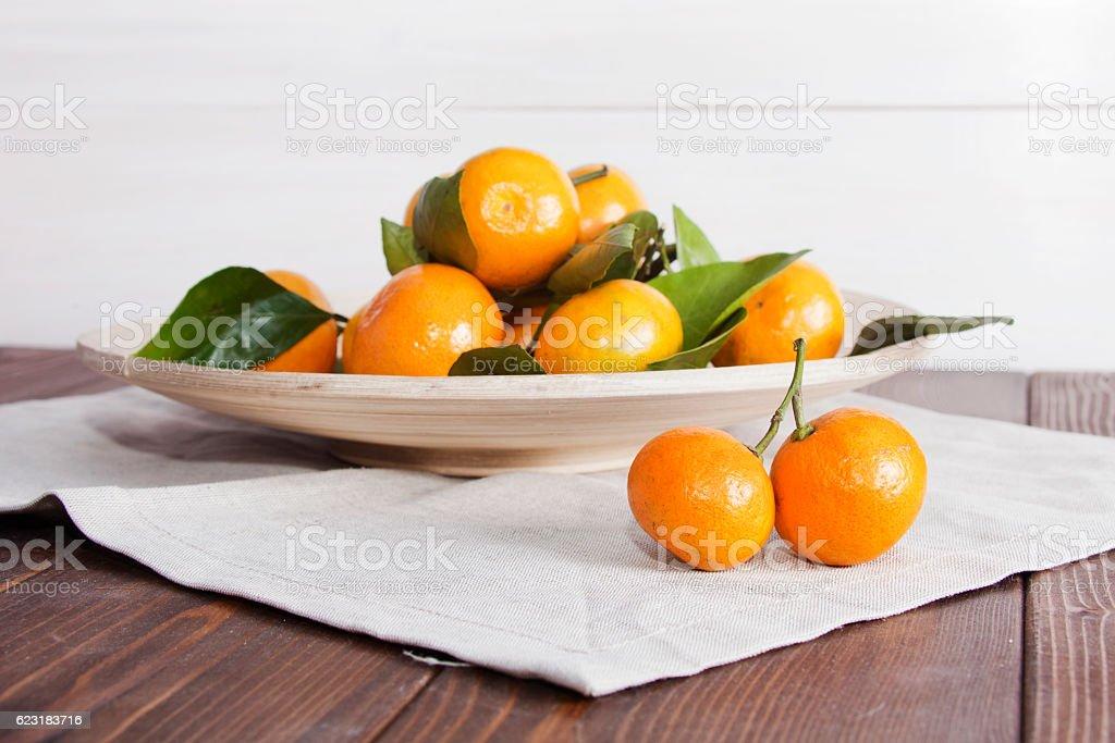 Still life with tangerines (mandarins) on plate stock photo