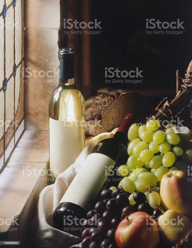 Still life with two wine bottles stock photo