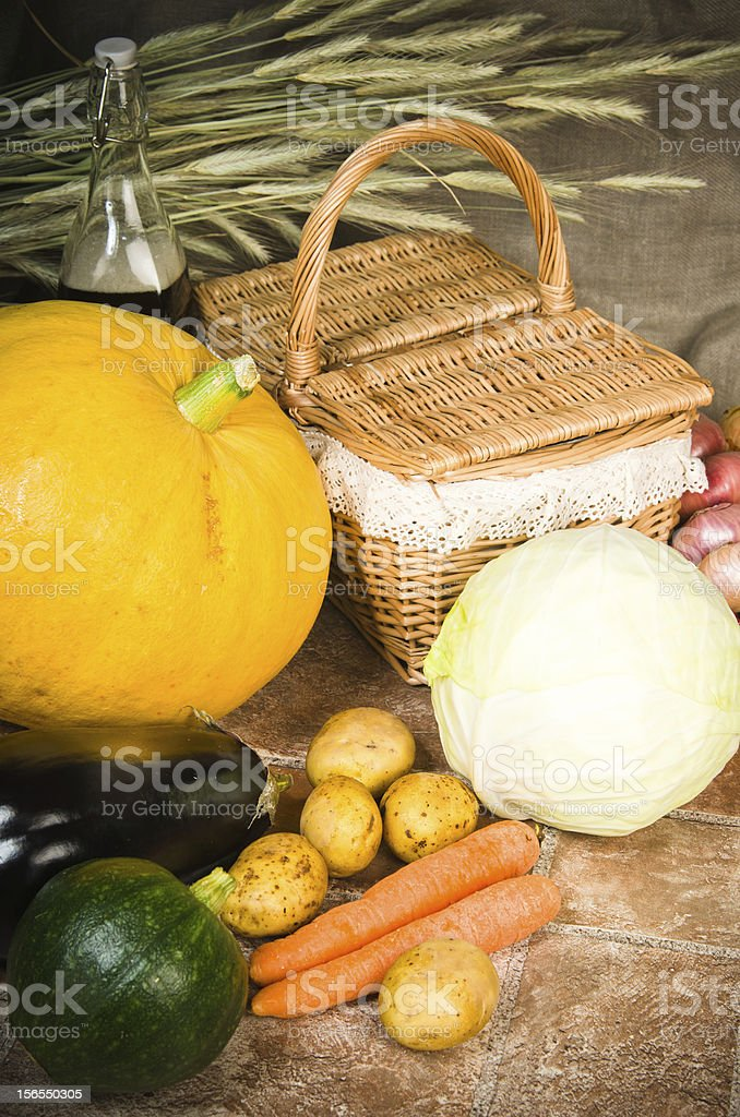still life with vegetables and a basket royalty-free stock photo