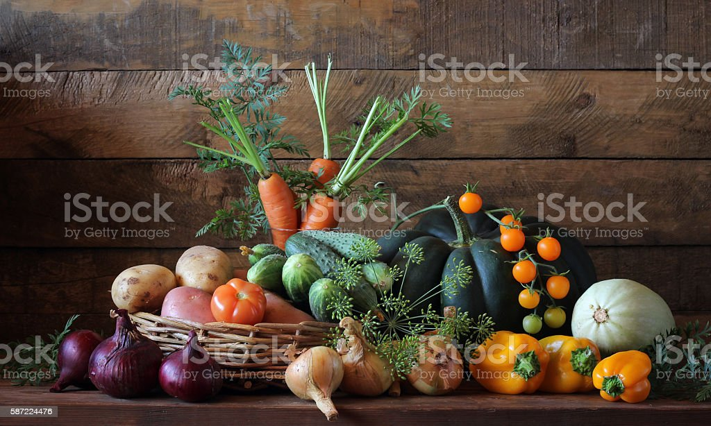Still life with vegetables on the table. stock photo