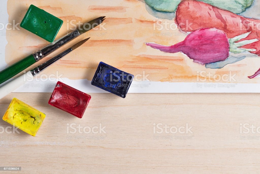 Still life with watercolor paint stock photo