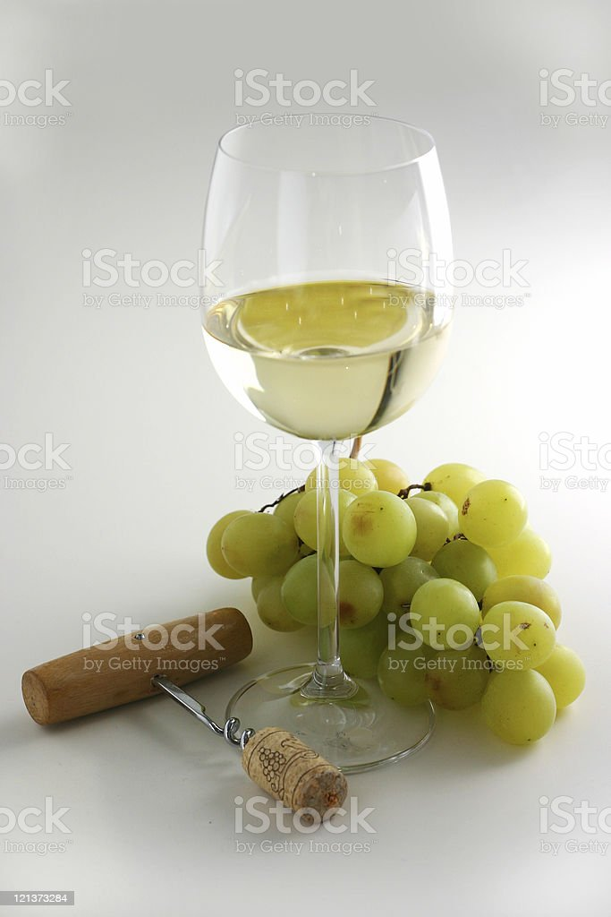 Still life with white wine and grapes royalty-free stock photo