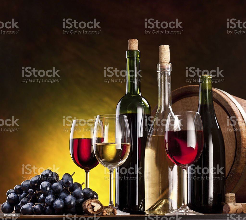 Still life with wine and fruits royalty-free stock photo