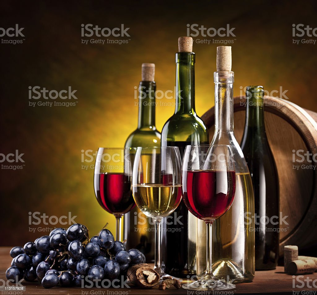 Still life with wine bottles. royalty-free stock photo