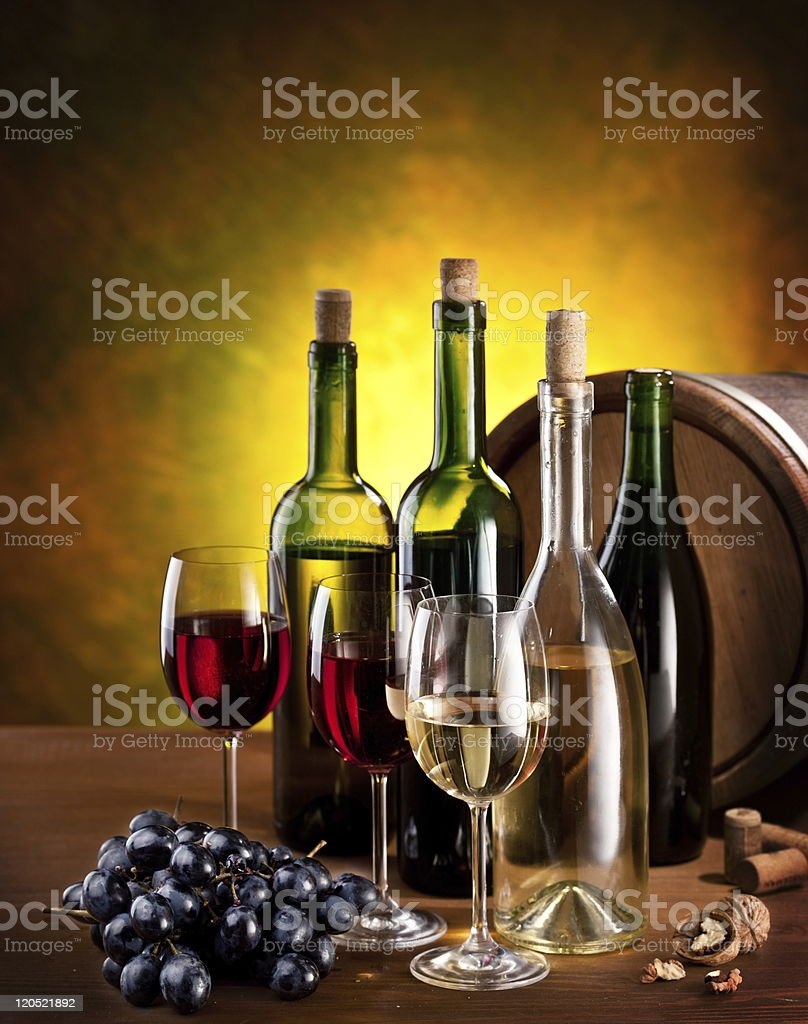 Still life with wine bottles royalty-free stock photo