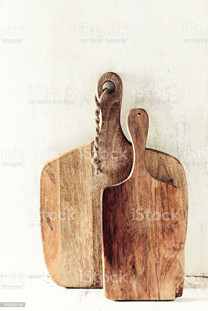 Still life with wooden chopping board stock photo