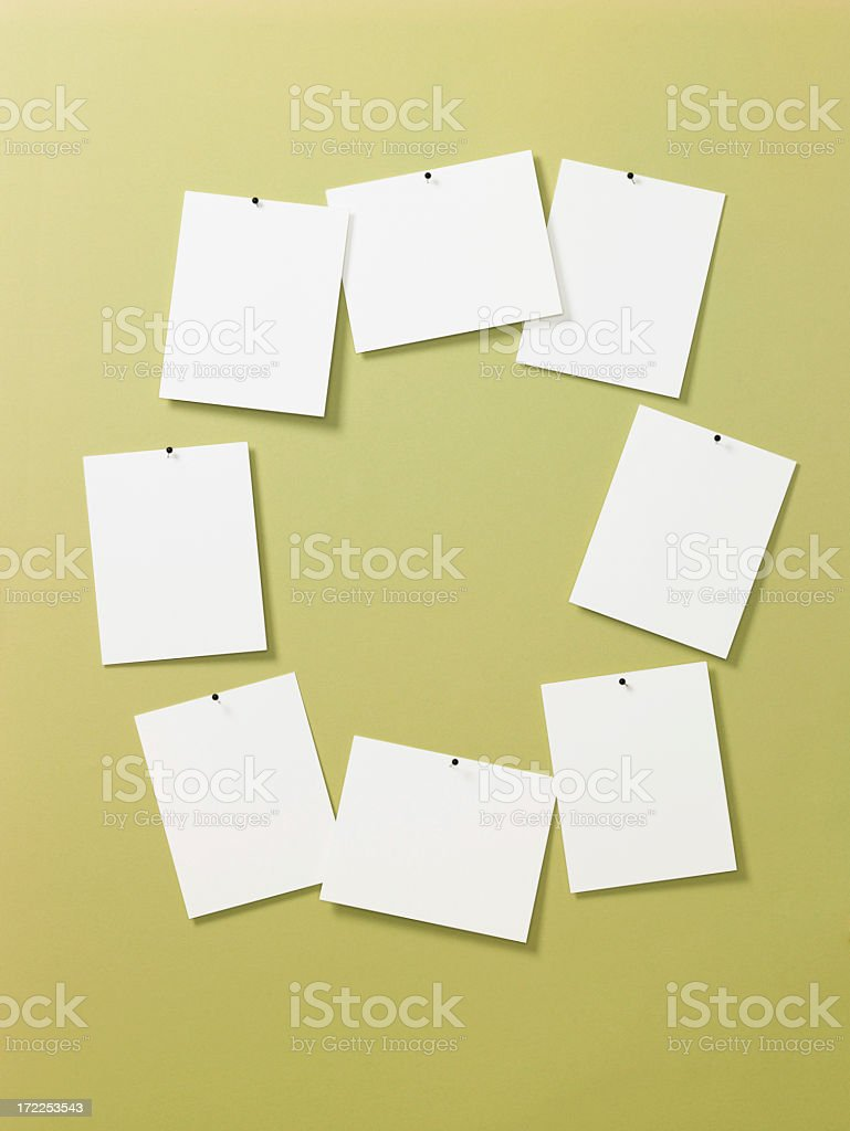 Still Life-Cards Pinned to Green Wall royalty-free stock photo