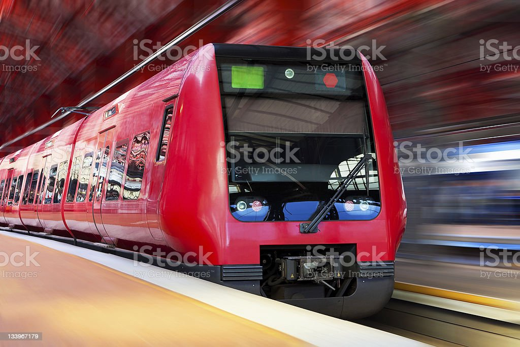 Still of a modern high speed train in motion stock photo