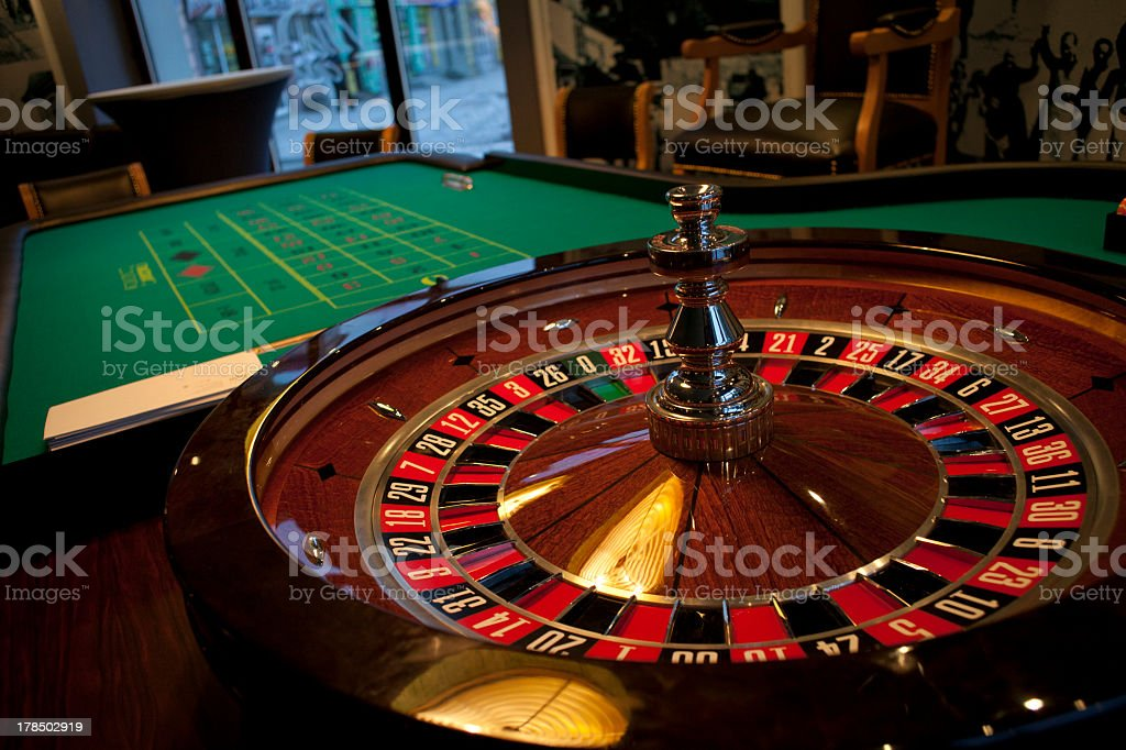 A still roulette table in a casino stock photo