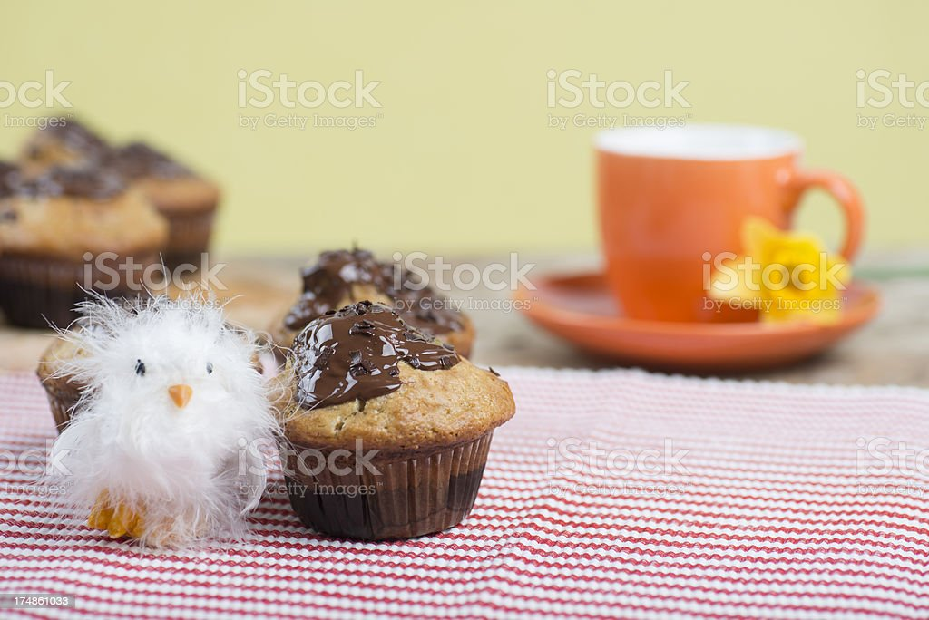 Still with muffin, cup and flower royalty-free stock photo