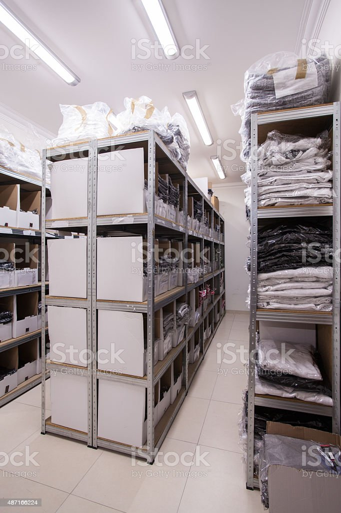 Stillages in the storeroom stock photo