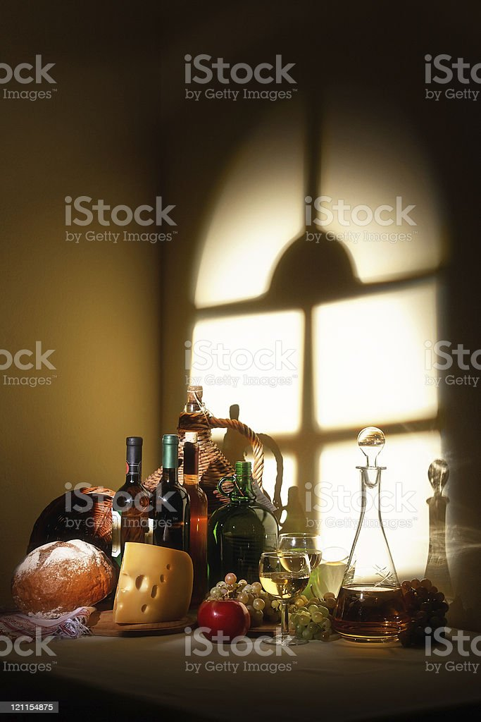 stille life with wine and cheese royalty-free stock photo