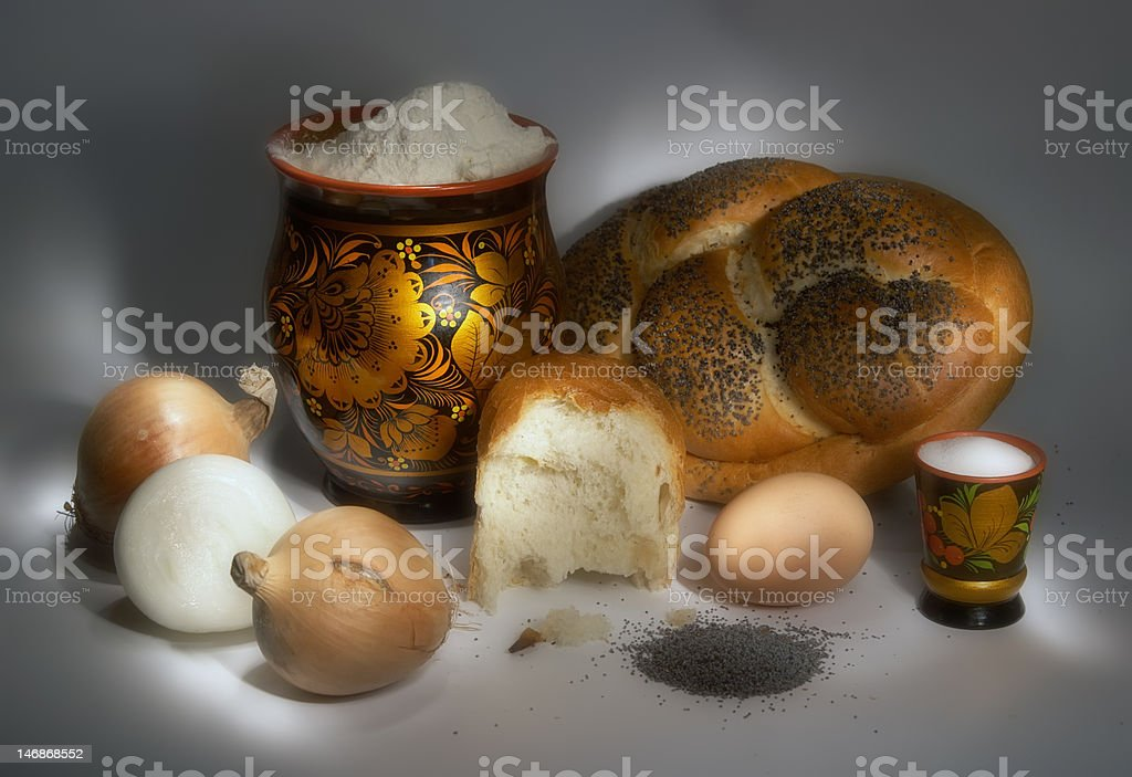 Still-life. Bread and its components. A light brush royalty-free stock photo