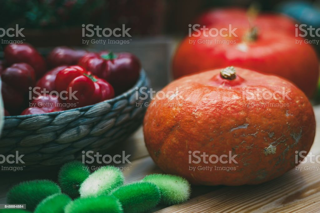 Still-life of Thanksgiving Day vegetables stock photo