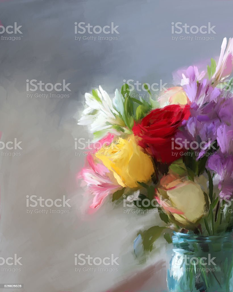 Still-life painting of a bouquet of flowers in glass jar stock photo