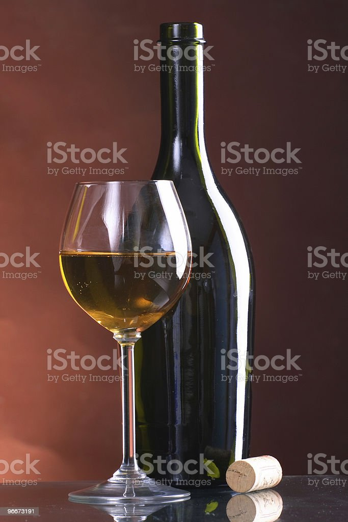 Still-life wine bottles and glass royalty-free stock photo