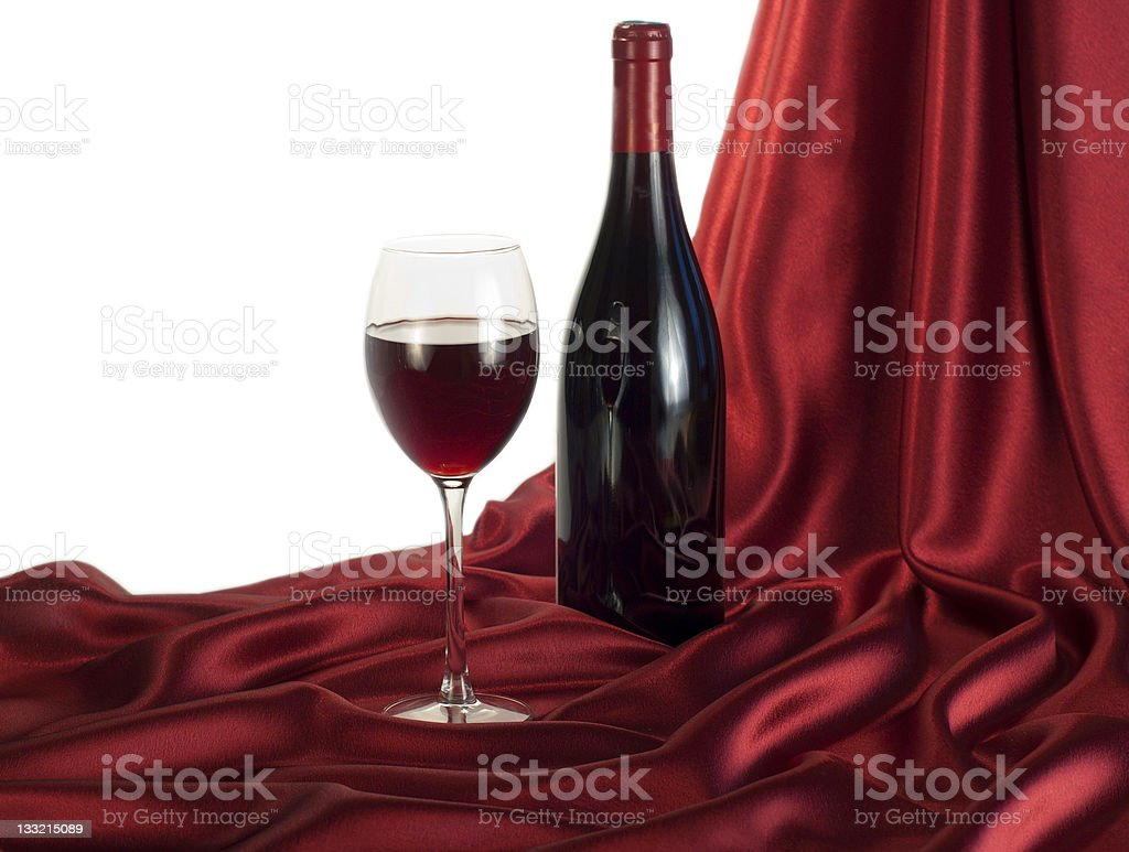 Still-life with a bottle of red wine royalty-free stock photo