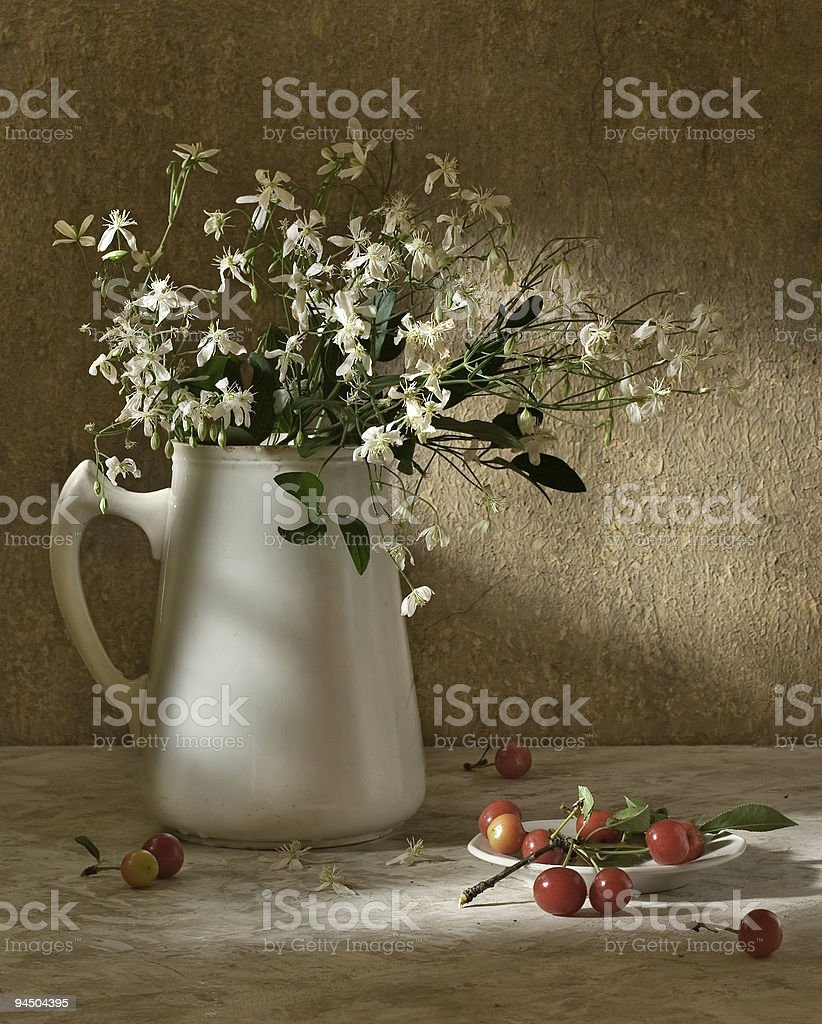 Still-life with a cherry royalty-free stock photo
