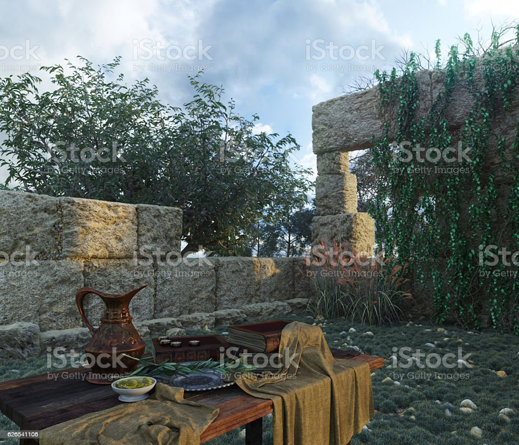 stilllife with ancient ruins, books, olive and pitcher stock photo