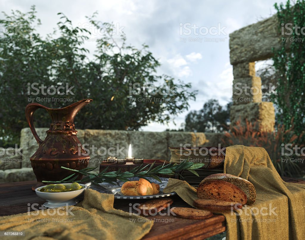 stilllife with ancient ruins, books,bread olive and pitcher stock photo
