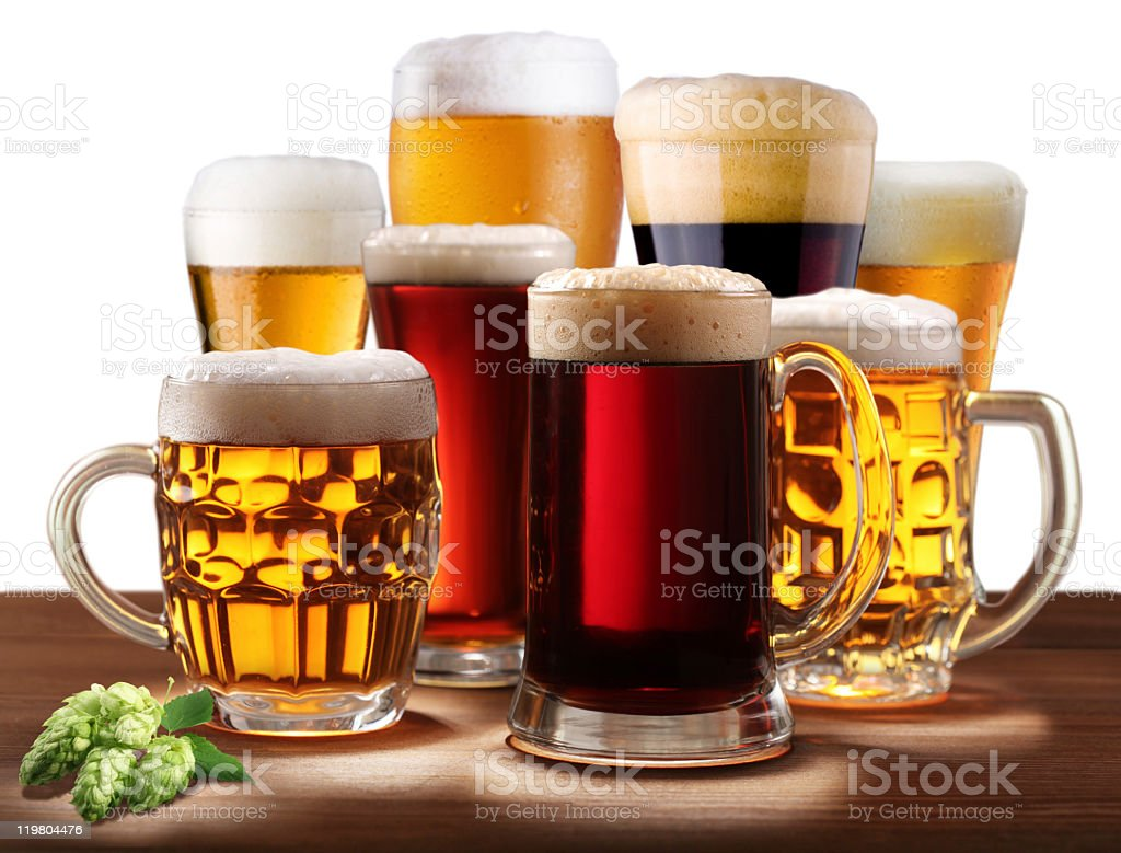 Still-life with beer glasses. royalty-free stock photo