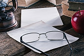 Still-life with books and eyeglasses