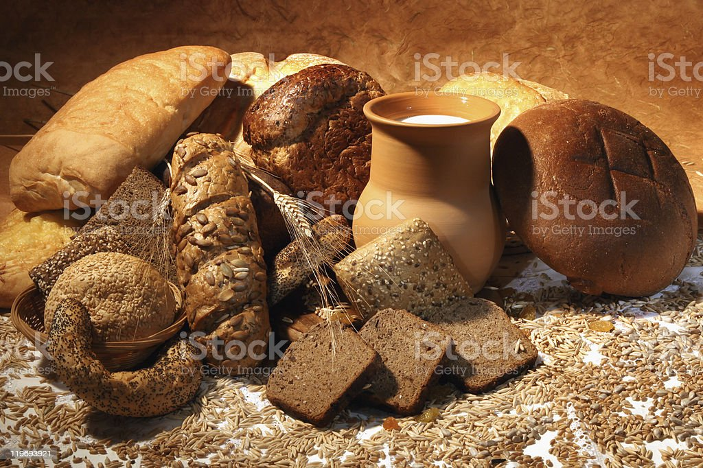 Still-life with bread and  milk royalty-free stock photo