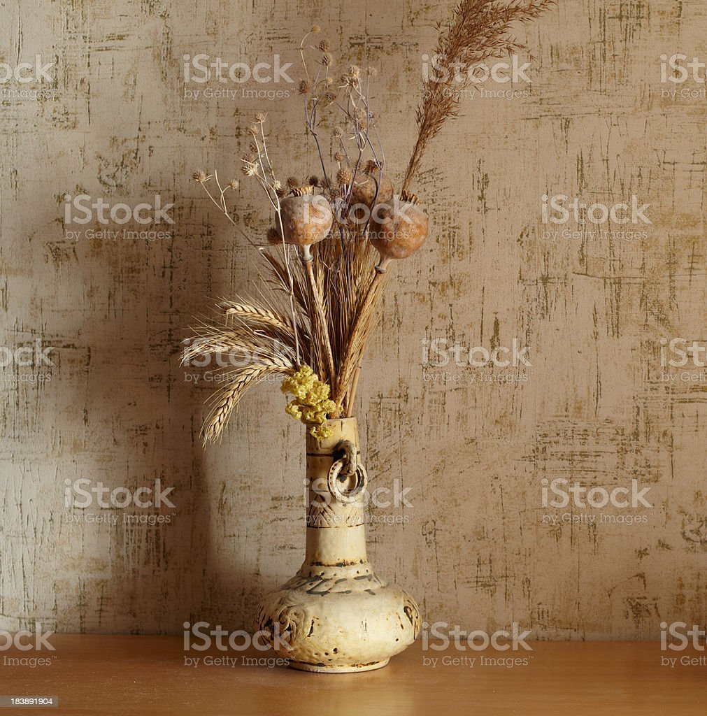 Still-life with dry bunch of flowers royalty-free stock photo
