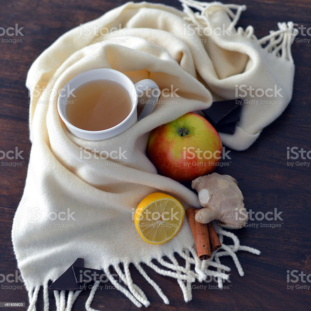 Still-life with ginger drink for the cold time of the year stock photo