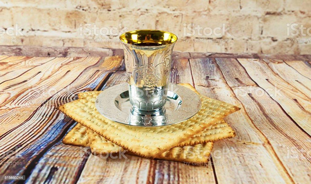 Still-life with wine and matzoh jewish passover bread stock photo