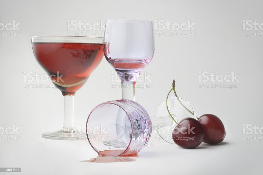 Still-life with wineglasses and cherries royalty-free stock photo