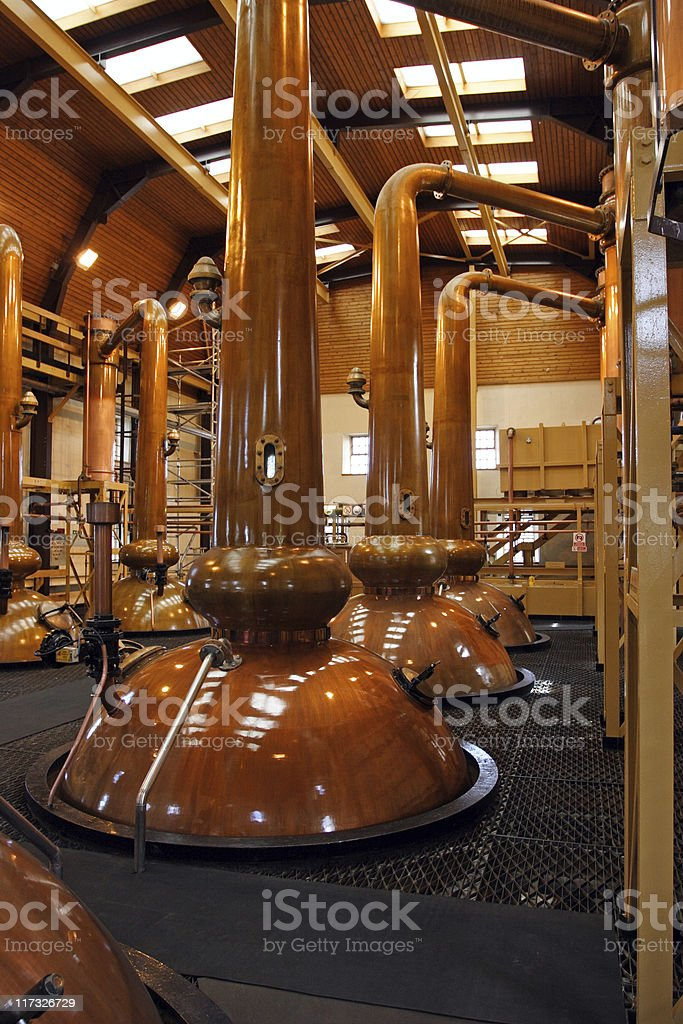 Stills in a whisky distillery royalty-free stock photo
