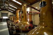 Stills Inside a Scottish whiskey distillery