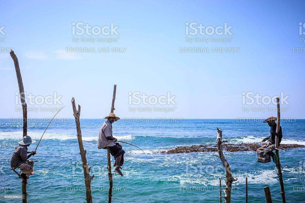 stilt fishermen of Sri Lanka (traditional fishing) stock photo