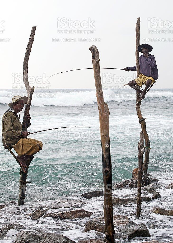 Stilt fishermen, Sri lanka stock photo