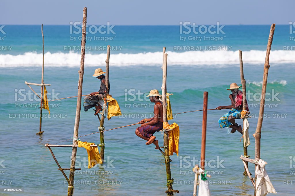 Stilt fishing, Weligama, Sri Lanka stock photo
