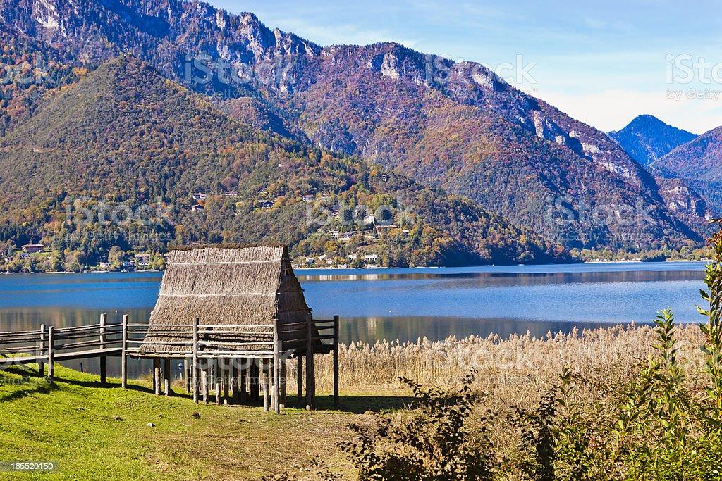 Stilt House At Lake Ledro, Italy stock photo