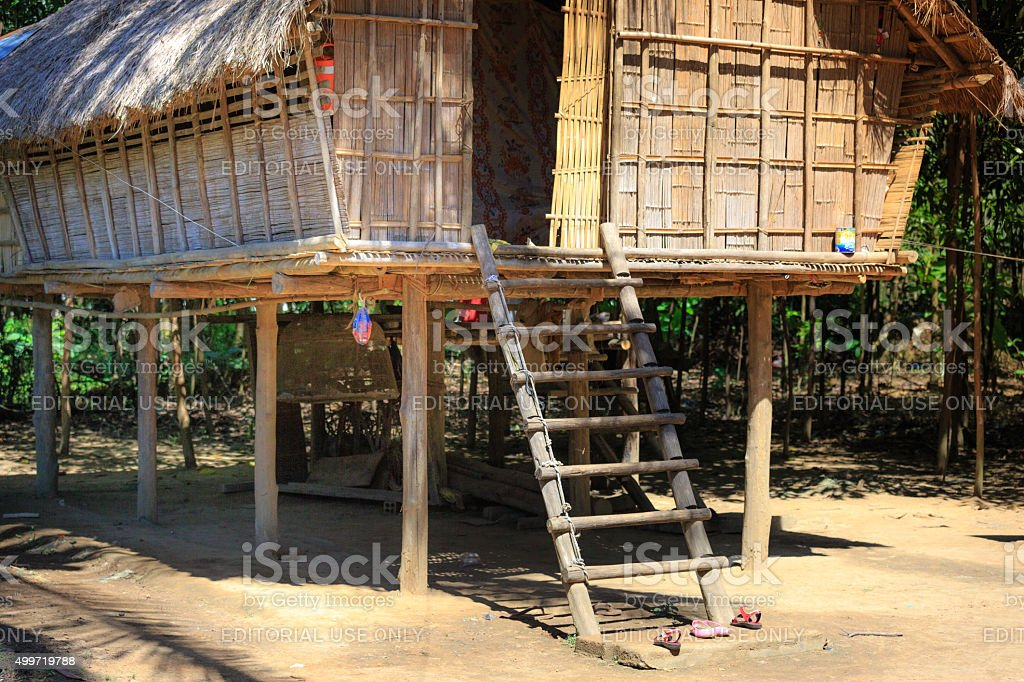 stilt house of Chau Ro ethnic minority groups stock photo