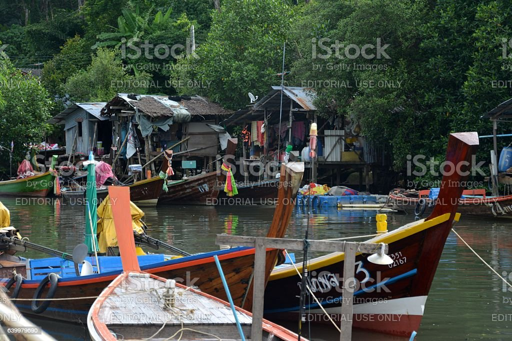 Stilt houses community in Patong beach, Phuket, Thailand stock photo