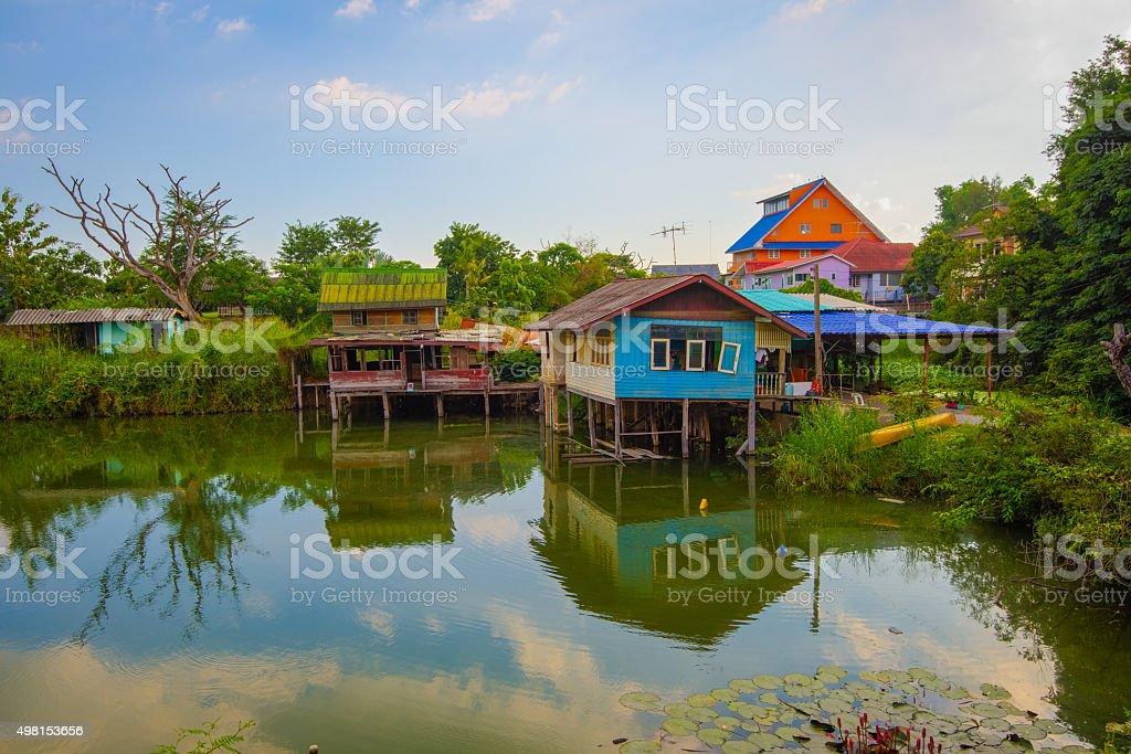 Stilt houses in Ayutthaya stock photo