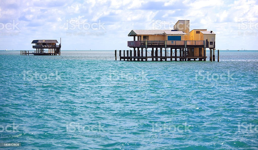 Stilt houses in biscayne park, miami stock photo