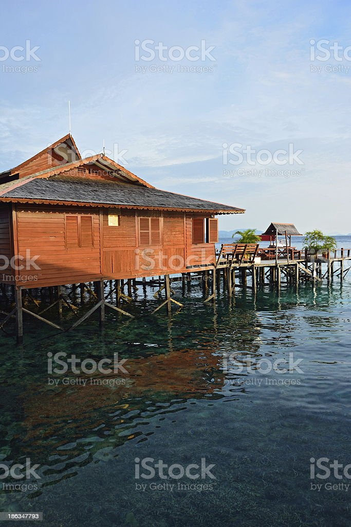 Stilt houses in Sipadan Mabul  Resort - Malaysia stock photo