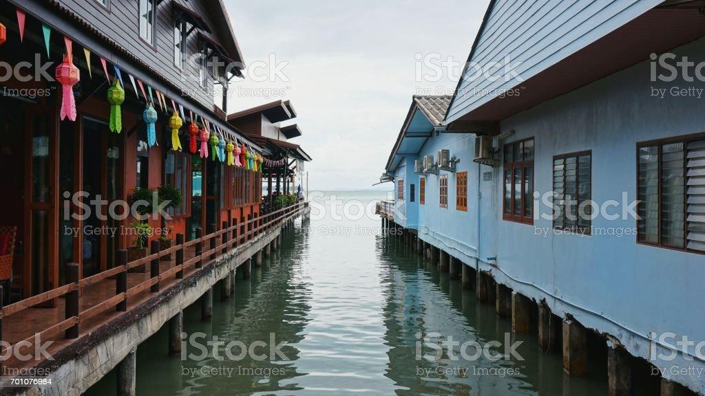 Stilt houses in Thailand stock photo