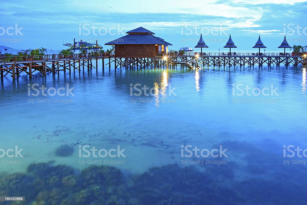 Stilt houses in twilight, Sipadan Mabul  - Malaysia stock photo