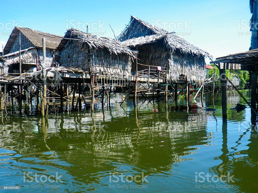 Stilt Houses Standing on Tonle Sap Lake, Cambodia stock photo